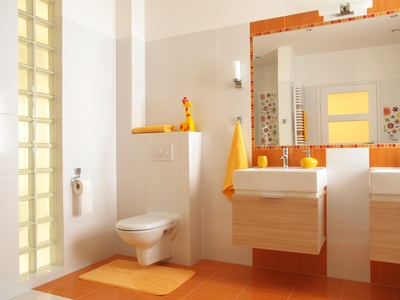 Colorful children bathroom with toilet