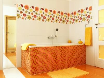 Bathroom design in orange color